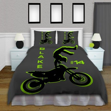 Green and Gray Motocross Boy Comforter Set, Kids Personalized Bedding #54…