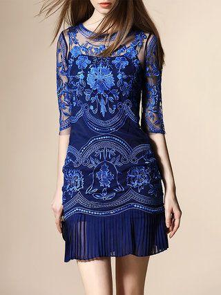 Blue Half Sleeve Embroidered Sheath Mini Dress