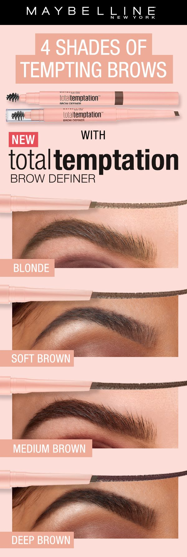 Get natural, softly shaped brows with the NEW Total Temptation Brow Definer.  The unique tear shaped applicator allows for precise application and the spoolie end brushes the brows through for a natural finish.  Available in 4 shades!