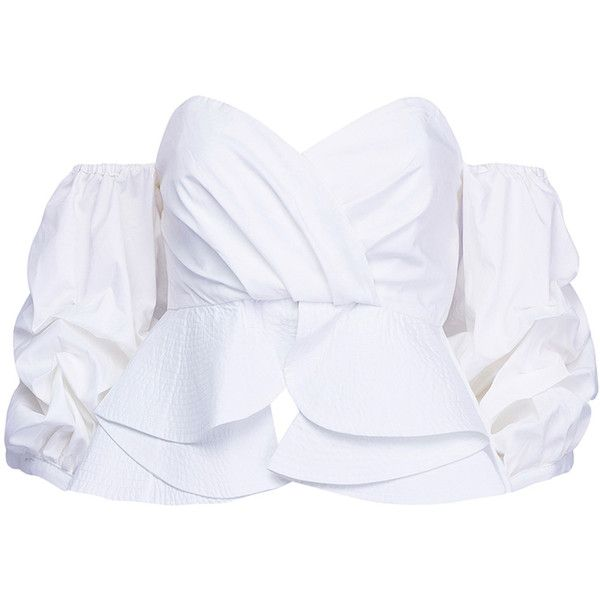 White Off Shoulder Puff Sleeve Wrap Front Ruffle Blouse (155 BRL) ❤ liked on Polyvore featuring tops, blouses, crop top, shirts, off the shoulder blouse, ruffle shirt, off the shoulder shirts, white blouses and ruffle blouse