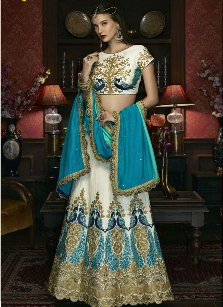 Raw Silk Lace Off White and Turquoise Reception wear Lehenga choli