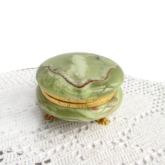 Alte Puderdose grüner Onyx mit Deckel, Vintage Powder Can Marble Box Italien 60 Jahrgang Jewelry