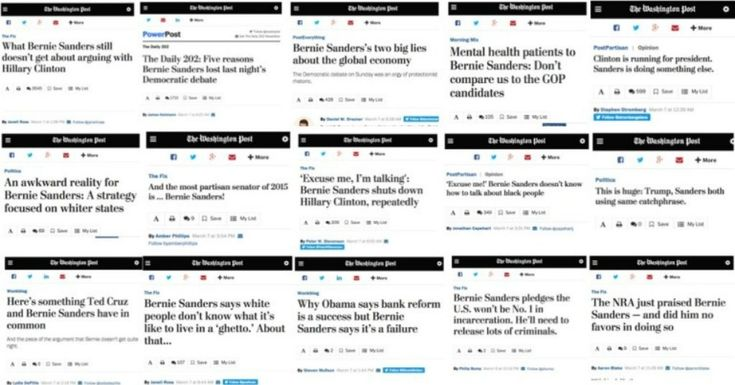 Washington Post Ran 16 Negative Stories on Bernie Sanders in 16 Hours - The headlines are getting a little too close to the anti-Sanders editorial page. While the headlines don't necessarily reflect all the nuances of the text, as I've noted before, only 40 percent of the public reads past the headlines, so how a story is labeled is just as important, if not more so, than the substance of the story itself.