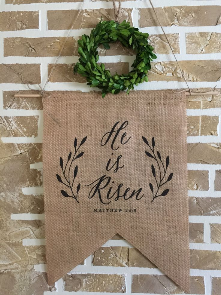 Burlap Banner | Easter Banner | He is Risen | Custom Banner | Burlap Wall Hanging | Wall Art by SimplyFrenchMarket on Etsy