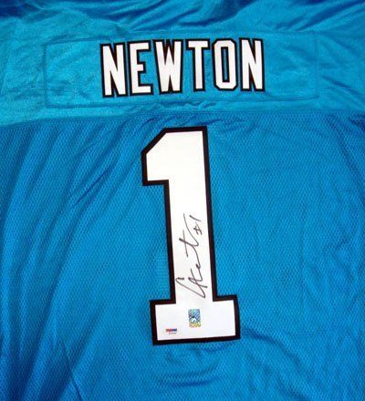 Cam Newton Carolina Panthers NFL Hand Signed Authentic Reebok Light Blue Jersey . $569.99. Cam Newton played college football for the Auburn Tigers and was drafted as the first overall pick by the Panthers in the 2011 NFL Draft. He is the third player to be awarded the Heisman Trophy, win a national championship, and be the first overall pick in the NFL draft all in the same one-year span, joining Leon Hart (1950), and Angelo Bertelli (1944), but is the only one to have wo...