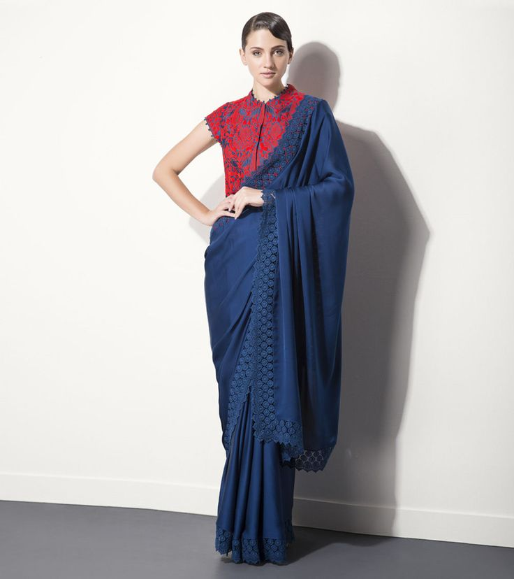 Navy Blue Silk Saree With Lace Border