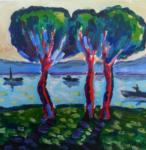 les arbres au bord du lac par jc robin peinture. Black Bedroom Furniture Sets. Home Design Ideas