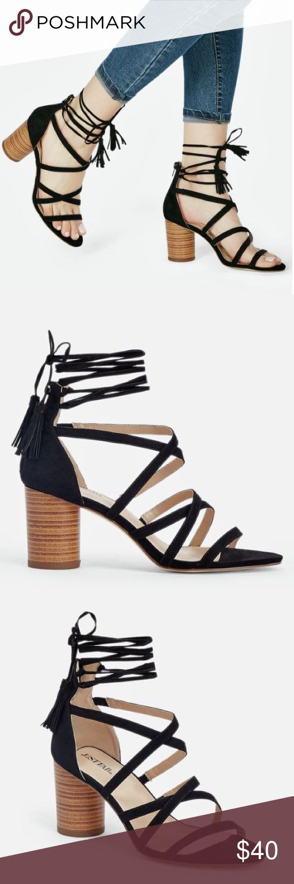 """ROMA ROUND HEEL STRAPY BLACK SANDALS LACE UP New! Just Fab. A faux stacked cone heel sandal with a lace up tassel tie closure. Approx. Heel Height: 2.75"""" Fit: True to Size ( not zara ) Zara Shoes Sandals"""