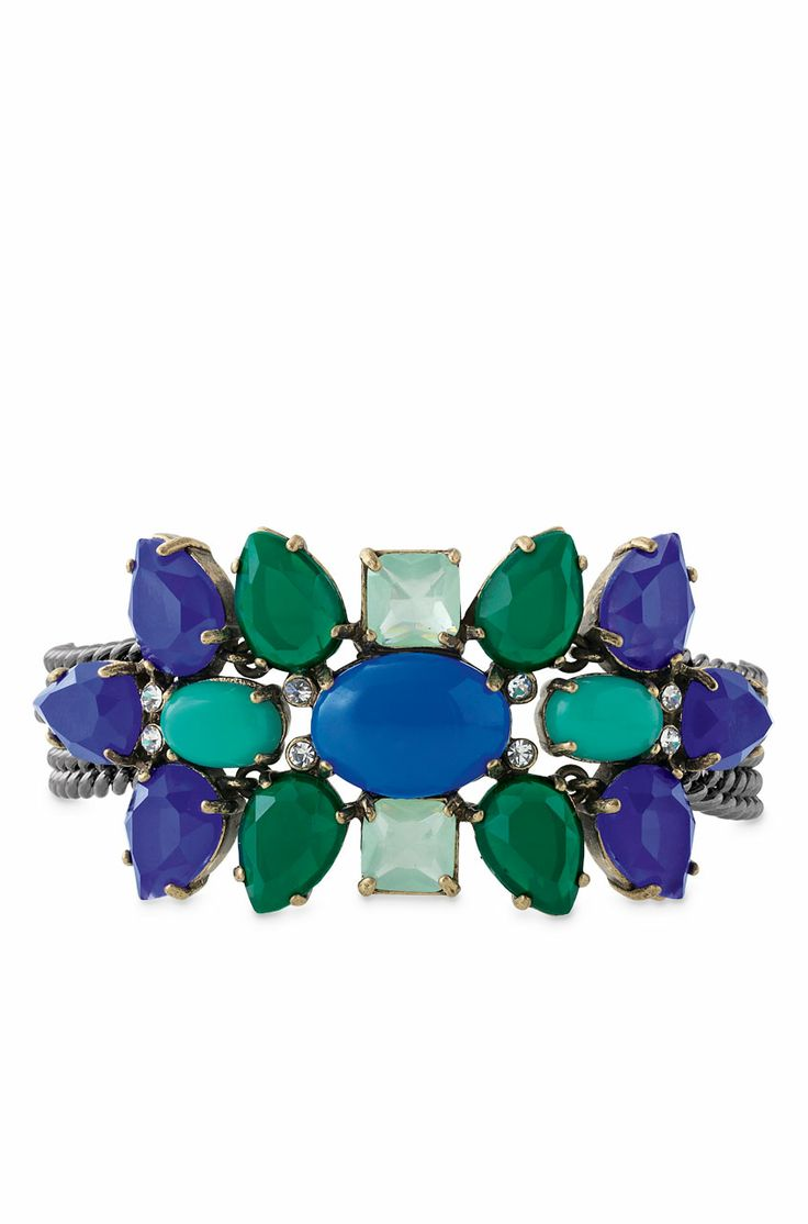 Stella & Dot Peacock Bracelet   Blue, Purple & Turquoise Metal Statement Bracelet