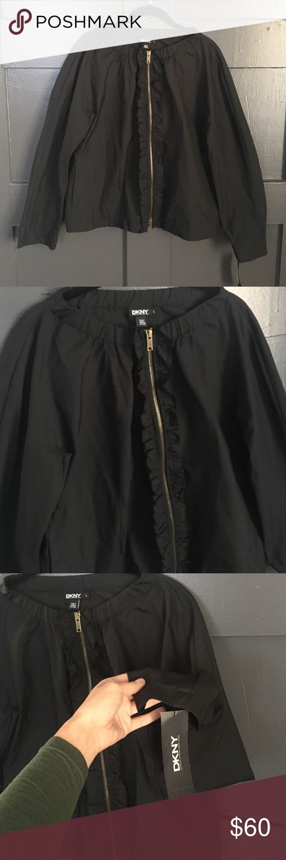 NWT DONNA KARAN COTTON JACKET Cape like shape. Cotton with water proof coat. Size L zip up DKNY Jackets & Coats