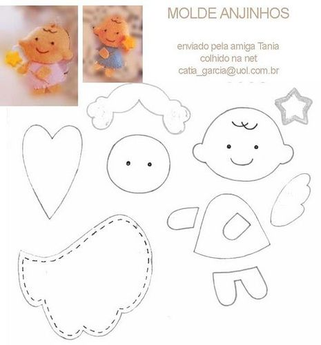 "Felt Angel Template By Mózinha - Guê do Gato Mónica Leitão @Flickr. As my ""Manualidades"" are at home, take the opportunity to make some templates! I hope they are useful! (Google Translated) [So very cute...can't wait to make some!!!]"