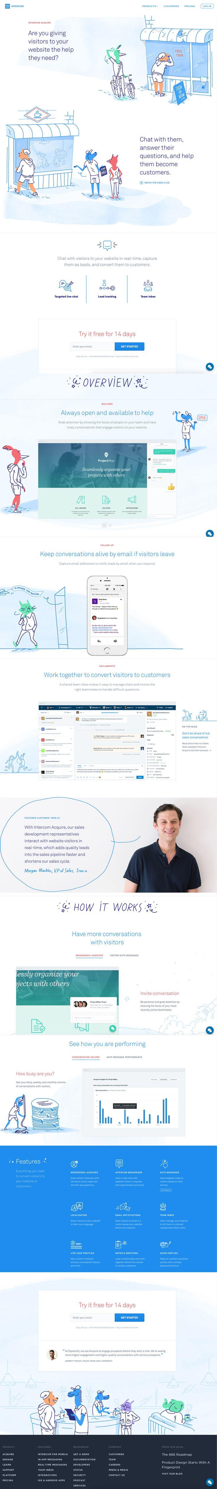 I love the use of integrating illustration in this website, intercom.io