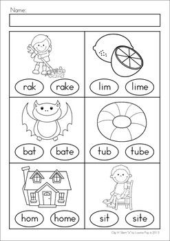 """Word Work for Kindergarten and First Grade: Clip It! - Silent """"e"""" activity and worksheets. Children clip pegs (either an """"e"""" or a """"tick"""") on the empty circle on the cards to show whether or not the word needs to have a silent """"e"""" to be read correctly. Also includes 10 worksheets, which could be used as an assessment tool."""