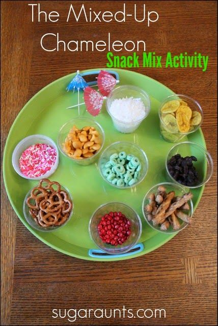 The Mixed-Up Chameleon snack mix activity inspired by Eric Carle's book. Cooking with Kids and literacy for children.