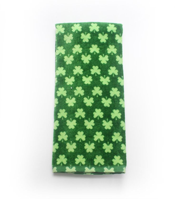 St. Patrick's Day Reactive Print Terry Hand Towel-Shamrock