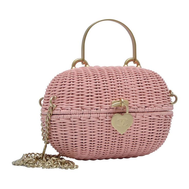 Chanel Pink Straw Handbag Mint Vintage | From a collection of rare vintage handbags and purses at http://www.1stdibs.com/fashion/accessories/handbags-purses/