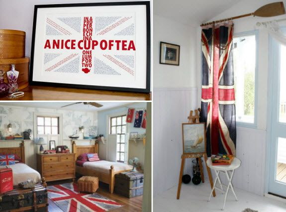 Union Jack decor collage >> Love the flag used as a curtain.