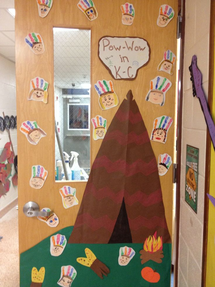 Preschool Classroom Door Decoration ~ November classroom door native american pow wow