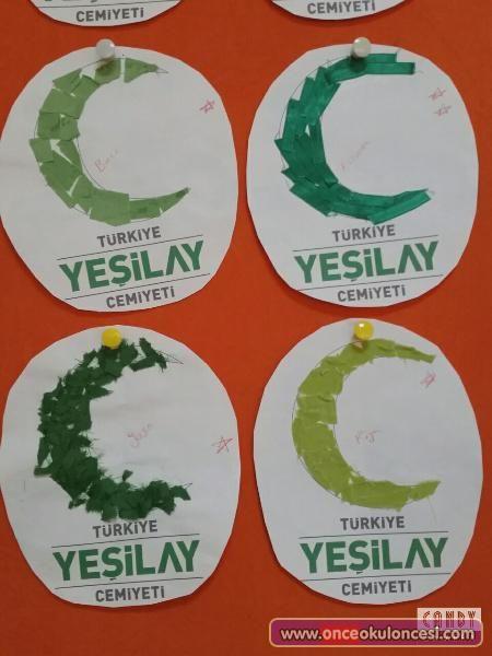 Yeşilay Amblemini Yeşil Kumaşlarla Süsledik - Önce Okul Öncesi Ekibi Forum Sitesi - Biz Bu İşi Biliyoruz
