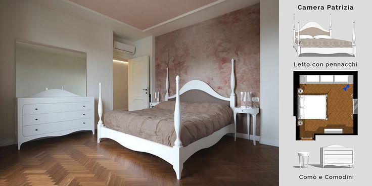 Un letto semi-baldacchino (meno ingombrante), ovvero un letto con 4 pinnacoli che si ispira ai letti del '600 con colonne lavorate e decorate.  Il tutto coronato da una testata sempre fatta di gesti semplice e morbidi.
