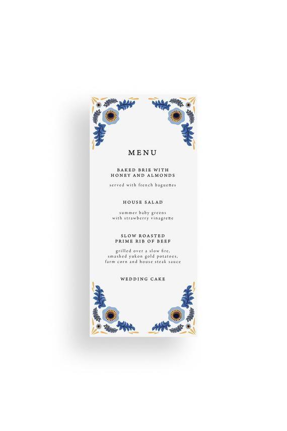 Printed Blue And Yellow Folk Flower Wedding Menus Swedish Wedding Menu Scandinavian Style Wedding Dinner Men Wedding Menu Wedding Dinner Menu Swedish Wedding
