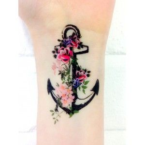 Vintage Anchor - Inkwear sooo cute - love, love, love the flowers. Beautiful