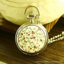 Small Red Enamel Floral Mirror Unisex New With Tags Stainless Steel Analog-digital Quartz Antique Pocket Watches Men Women