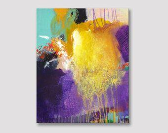 Originele abstract schilderij, moderne kunst, acrylschilderijen, purple violet geel oranje schilderij, kleurrijke levendig schilderij, GEMORST SUNSHINE