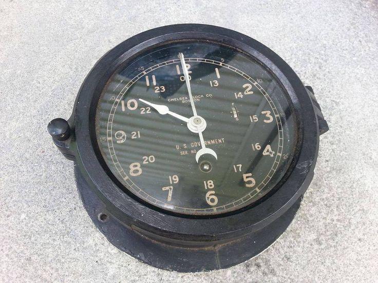 Vintage WWII U.S Government Naval Ship Clock Chelsea Clock Co Boston