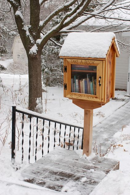 """Little Free Library, houzz: It's a """"take a book, return a book"""" gathering place where neighbors share their favorite literature and stories. In its most basic form, a Little Free Library is a box full of books where anyone may stop by and pick up a book (or two) and bring back another book to share.  You can, too. Go here http://littlefreelibrary.org/ and here for photos http://www.flickr.com/photos/68010601@N03/ #Library #Little_Free_Library"""