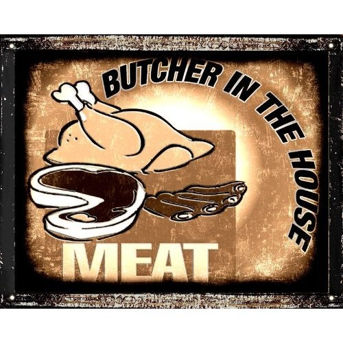 Bbq Restaurant Wall Decor : Butcher meat funny sign barbecue bbq