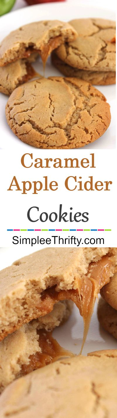 One of my favorites: Caramel Filled Apple Cider Cookies! These are a perfect treat while sipping on some warm apple cider, tea or a cup of coffee.