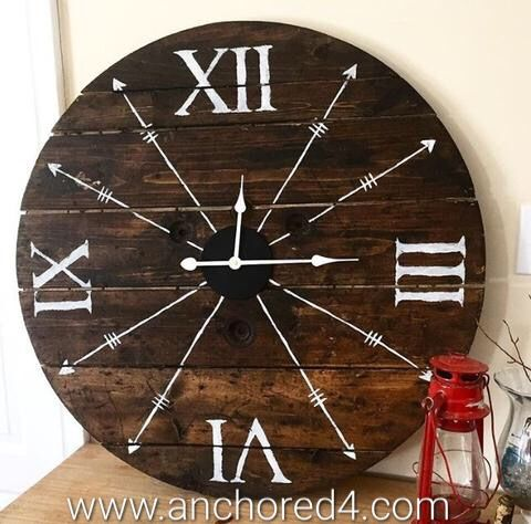 """Rustic Skinny Arrow"" is one of the many beautiful rustic clocks we offer at our online boutique.  www.anchored4.com We ship world wide!!!  Sign up for our free Anchor Rewards Program to earn anchor points to get money off purchases or cash in anchor points to get items in our store FREE!!!"