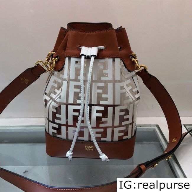 Fendi PU Mon Tresor Bucket Bag BrownWhite 2019 (AFEI