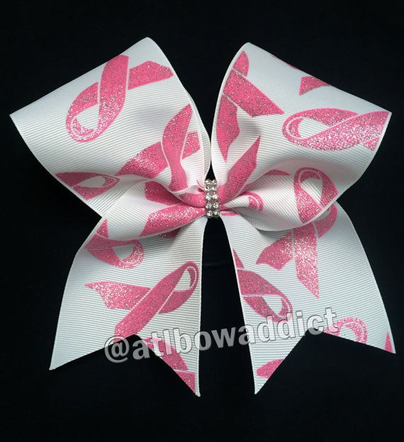 Breast Cancer Awareness Cheer Bow with Rhinestone by AtlBowAddict
