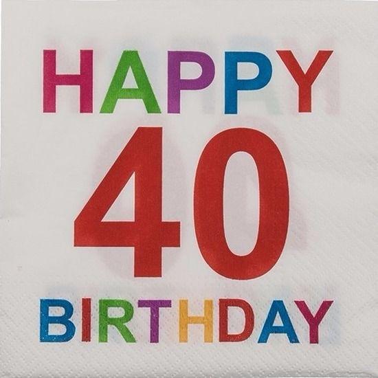 Pakje met 20 witte papieren servetten met opdruk: Happy 40 Birthday. De 3-laags servetten zijn gemaakt van 100% FSC gecertificeerd papier. Formaat uitgevouwen servet: 33 x 33 cm.