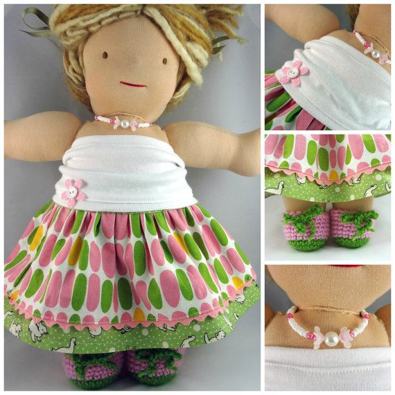 15 inch Waldorf doll 4 pcs set OOAK.  Includes:  doll twirl party skirt/dress, knit tube top, crochet shoes and necklace, by #mylittlepoppyseed - Be sure to visit and like my Facebook page and my Etsy shop: www.facebook.com/... www.etsy.com/...