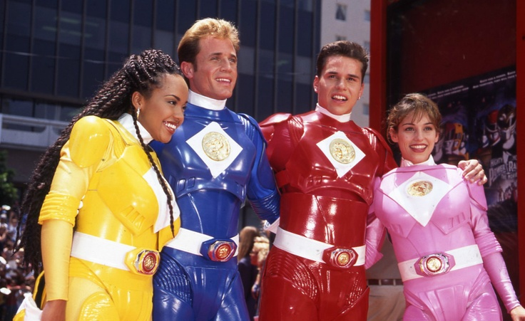 The Power Rangers at Grauman's Chinese Theatre for the Launch of The Mighty Morphin Power Rangers Movie in 1995 - Karan Ashley, David Yost, Steve Cardenes, Amy Jo Johnson