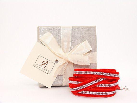 RED Swarovski multi strand bracelet, red swarovski cystal wrap bracelet,multi strand wrap crystal bracelet