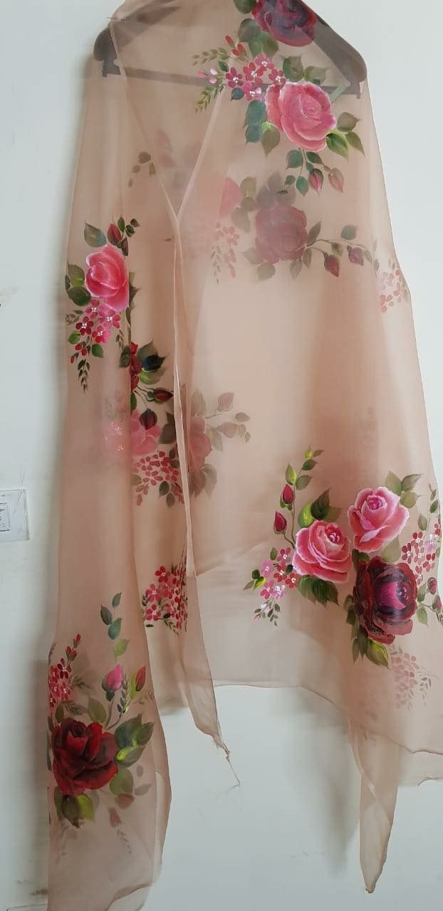 Hand Paint Dupatta Painted Clothes Hand Painted Sarees Hand Painted Dress