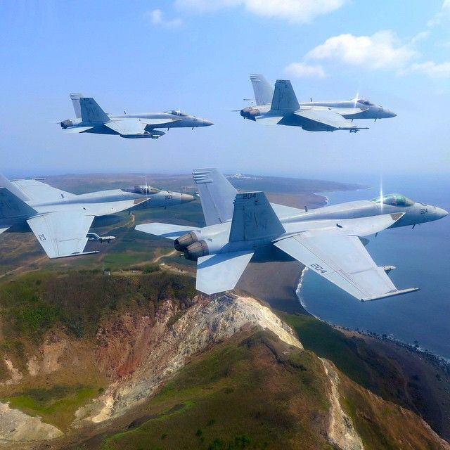 Around the World Wednesday: F/A-18E Super Hornets from the Royal Maces of Strike Fighter Squadron (VFA) 27 fly over Mt. Suribachi during a return transit to Atsugi, Japan. VFA-27, part of Carrier Air Wing 5, is forward-deployed to Naval Air Facility Atsugi, Japan, to support security and stability in the Indo-Asia-Pacific region. | #AmericasNavy #USNavy #Navy navy.com