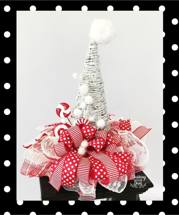 cddb784cc8aa4 Peppermint Polka Dot Santa Hat Grapevine Centerpiece