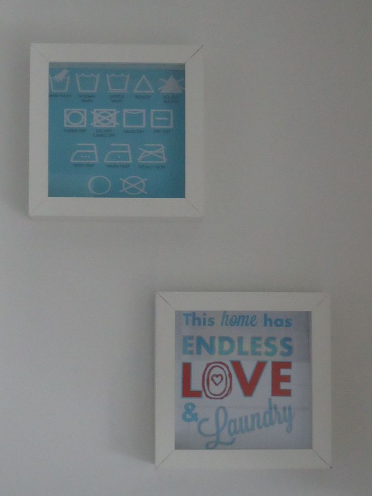 DIY decoratie wasruimte Laundry room art in kadertjes van Ikea