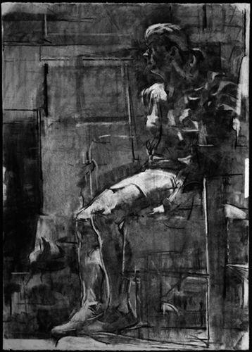 Sangram Majumdar. Flicker, charcoal on paper, 44 X 30 in, 2006