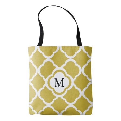 Monogram Brown Beige Moroccan Quatrefoil Pattern Tote Bag