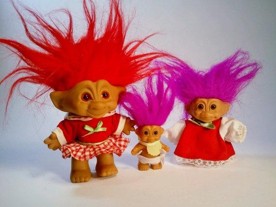 Three Vintage Russ Troll Dolls by LazyMermaidVintage on Etsy, $25.00