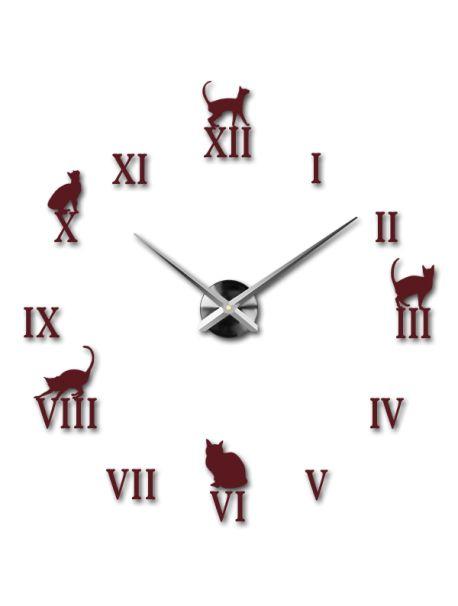 Moderní nástěnné hodiny v barvě - Černá kočka Kód:  12S020-RAL3005-S-COLOR** Vyber si barvu podle sebe! Přišel čas zútulnit si své bydlení novými hodinami. Velké nástěnné 3D hodiny jsou krásnou dekorací Vašeho interiéru. Už nikdy nebudete opozdí.