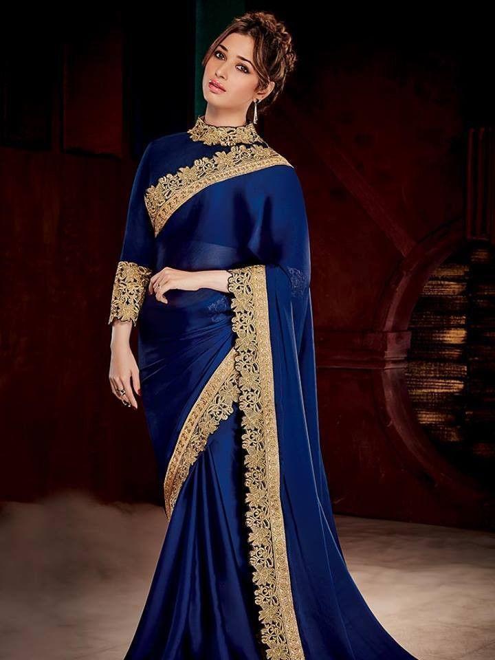 Navy Blue & Gold Coloured Beautiful Designer Saree