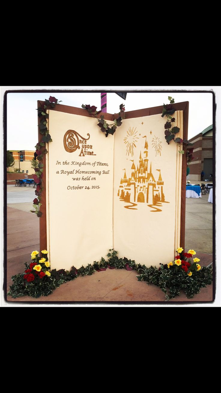"My students & I created this giant ""Once upon a Homecoming"" storybook to be used as a photo backdrop at our high school homecoming dance. The materials we used included 4x8' insulation foam boards, brown butcher paper (cover), cream paper for the inner pages, adhesive spray glue, duct tape, acrylic metallic gold paint for the castle, acrylic chocolate brown paint for the lettering, & artificial flowers and vines. YouTube Channel: gthsnews Search: GTHS ""Once Upon A Homecoming"" Highlights 2015…"