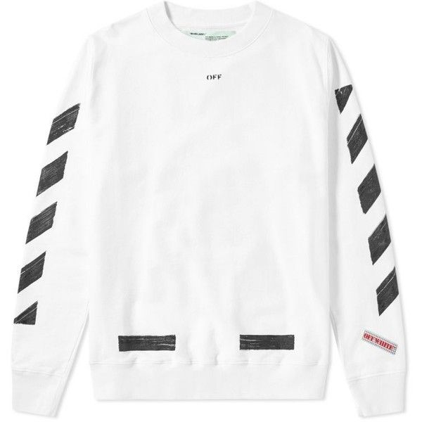 Off-White Diagonals Brushed Crew Sweat ($250) ❤ liked on Polyvore featuring tops, hoodies, sweatshirts, crewneck sweatshirt, off white sweatshirt, off white top, crew neck sweatshirts and crew neck tops